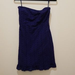 Eyelet strapless Old Navy navy blue dress
